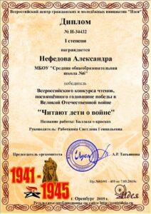 Всероссийский конкурс чтецов, посвящённый годовщине победы в Великой Отечественной войне «Читают дети о войне…»